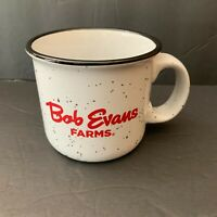 Bob Evans Farms White Coffee Mug Cup Speckled Large Country Cabin