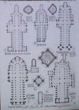 Comparison: Plans of French Gothic Churches, Magic Lantern Glass Slide