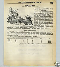 1939 40 PAPER AD Atlas Utility Metal Back Geared Screw Cutting Bench Lathe