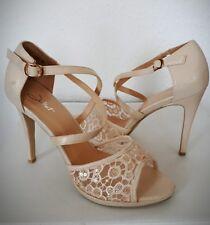 Damen high heels pumps beige Glitzereffekt transparent Hochzeit  Gr.39 NEU!!!