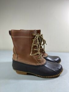 KHOMBU WOMEN'S BROWN LEATHER & RUBBER LACE UP LETTY DUCK BOOTS SIZE 6M