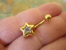 Star Gold Titanium Plated Belly Button Navel Ring Body Jewelry Clear Gem