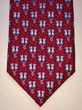"""NEW Authentic Hermes Mens Silk Twill Tie Red """"Maki Love"""" Cat Cats Kittens SAVE!"""