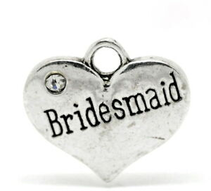 5 X RHINESTONE HEART CHARMS WEDDING CELEBRATIONS FAMILY VARIOUS TITLES AVAILABLE