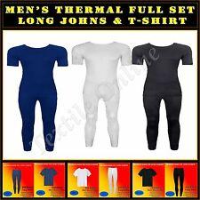 Mens Thermal Underwear Short Sleeved Top Vest & Long Johns Full Set S-M-L-XL-XXL