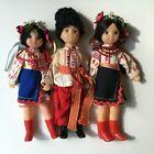 "3 Vintage Ukrainian Soviet Era Hard Plastic Dolls Traditional Clothing 10"""
