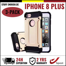 3IN1 Gold Armor Cover Cas Coque Etui Silicone Hoesje Case Or For iPhone 8 Plus