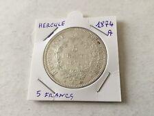 Pièce de 5 F en argent Hercule 1874 A - TB