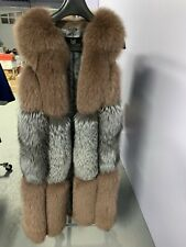 NEW! Real Fur Vest with fox fur and silver fox size (L) adjustable