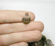 Bulk 40 Faith Word Charm Antique Copper Circle Round 15 x 12mm - 280