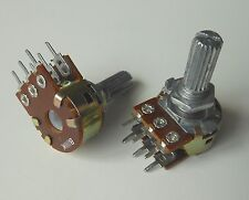10pcs Wh148 B100k Shaft 20mm Linear Dual Stereo Potentiometer Pot 100k