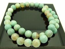 """Genuine Banded Agate Light Blue 10mm Faceted Round Gemstone Beads 15.5"""" Strand"""