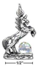 Charm With Clear Crystal Ball Genuine .925 Sterling Silver 3D Unicorn