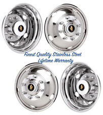 "17"" CHEVY SILVERADO 3500 WHEEL SIMULATORS HUBCAPS SNAP ON STAINLESS COVERS ©"