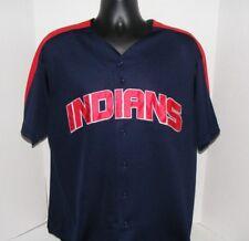 Cleveland Indians Majestic Blue Block Logo Baseball Jersey Blank Sz Xl Euc