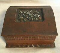 Vintage copper brass WOOD LINED Cigarette trinket STASH Jewelry box ROSE LID