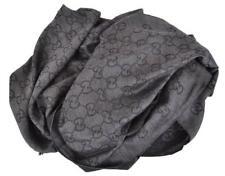 Gucci 165903 Charcoal Grey Wool Silk GG Gucci ssima Logo Scarf Shawl