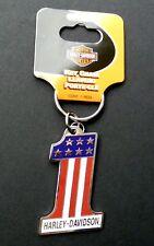 Harley Davidson USA #1 No 1 Key Ring Keychain Chain 2.5 x 1.5 inches keyring