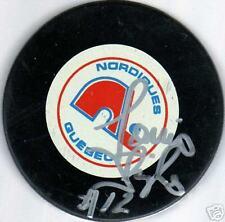 Louis Sleigher Autograph Signed Quebec Nordiques Puck