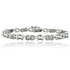 Silver Tone 7.15ct White Topaz & Diamond Accent X & Oval Bracelet, 7.25""