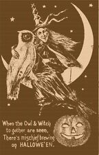 Witch with owl on moon rubber stamp  Cling Mounted P5