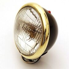 """Black Powder Coated 5-3/4"""" Headlight with Brass Plated Trim Ring"""