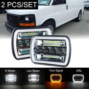 "Pair 7x6"" LED Headlight Hi/Lo Beam Halo DRL For Express Savana 1500 2500 3500"