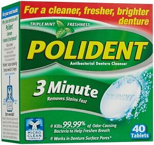 Polident 3-Minute Denture Cleanser 40 Tablets Cleaner Antibacterial Pack of 1