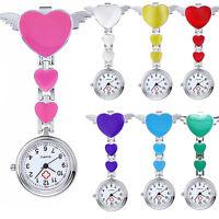 Women Lady Cute Love Heart Quartz Clip-on Fob Brooch Nurse Pocket Watch Seraphic