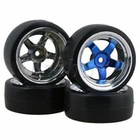 4pcs 12MM Blue 5Spoke Hub and Drift Smooth Tyres RC 1:10 For On Road Car