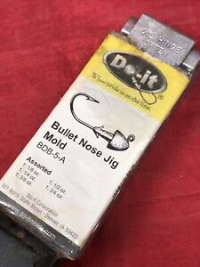 3223 Do It Bullet Nose Jig 5 Assorted Sizes Fishing Lure Hook Lead Mold BDB-5-A