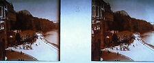 Stéréoscopique photographie Vue prise de la rampe DE la Basilique à Lourdes 1920