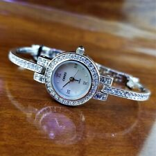 New CERES Silver Dainty Swarovski Crystal Pave Bracelet Watch MOP Dial