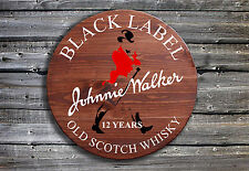 Traditional Johnnie Walker Whisky Barrel End Wooden Pub Sign Hand Made