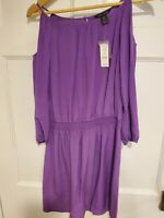 NWT White House Black Market Silk Dress Size Small Womens Purple Cold Shoulder