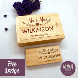 Personalised Wooden Usb 3.0 with Gift Box 16GB * Special Day Memories * New