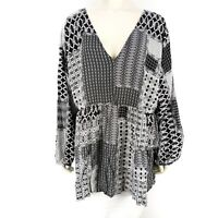 Ellos Black White Abstract Print Long Sleeve Blouse Shirt Top Womens Plus Sz 26
