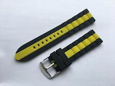 22mm Replacement Black Yellow Silicone Rubber DIVE Watch Band Strap Diver scuba