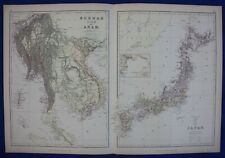 BURMA, MYANMAR, SIAM, THAILAND, JAPAN, original antique atlas map, Blackie, 1884