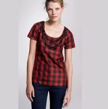 J CREW Top sz 4 Red & Black Plaid Eliza Tee Necklace Silk Blouse Shirt 32644 NEW