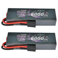 2pcs HRB 7.4V 6000mAh 2S LiPo Battery 60C-120C Traxxas for RC Car E-Revo E-Maxx