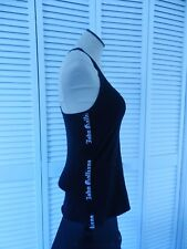 John Galliano Lingerie women's black name logo sides sleeveless stretch top, S
