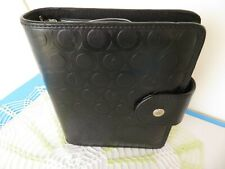 Franklin Covey 365 Black Sim Leather Compact Planner Binder 1 Rings Magnetic