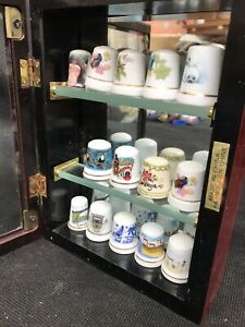 Thimble Display Case With 14 Thimbles Well Made Unique Case Wooden Good Conditio
