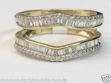 Yellow Gold Baguette  Round Diamonds Ring Guard Wrap Solitaire Enhancer 0.50ct