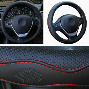 1x 38cm Universal Car SUV Steering Wheel Covers PU Leather For Toyota Honda Ford