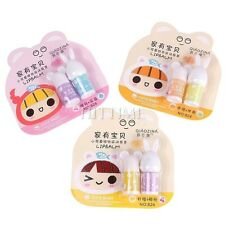2PCS/Set Cute Mini Portable Travel Women Girl Kid Moisture Makeup Lip Balm