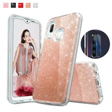Samsung Galaxy A20/A30 Rugged Bling Glitter Case Cover+Camera Lens Protector