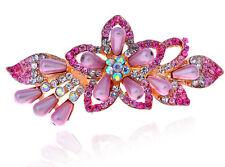 Rose Pink Rainbow Pearls & Rhinestones Flower Hair Barrette Accessories HA139