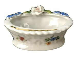 Scarce Vintage Antique Elfinware Germany Porcelain salt Cellar dip dish Basket